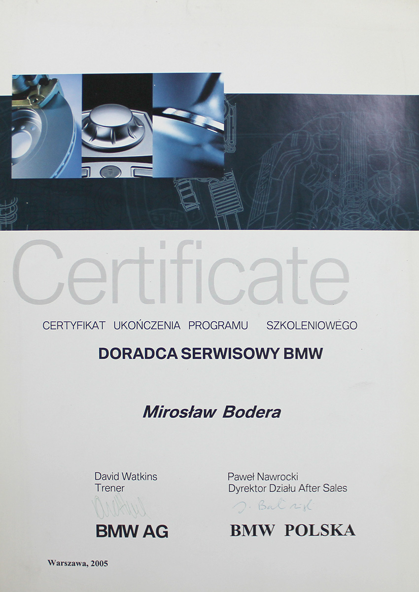 certyfikaty BMW