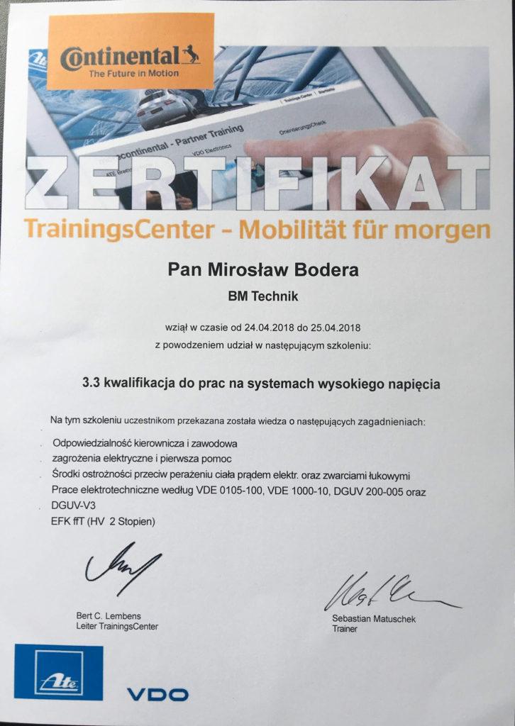 certyfikat wysokich napięć bm cars