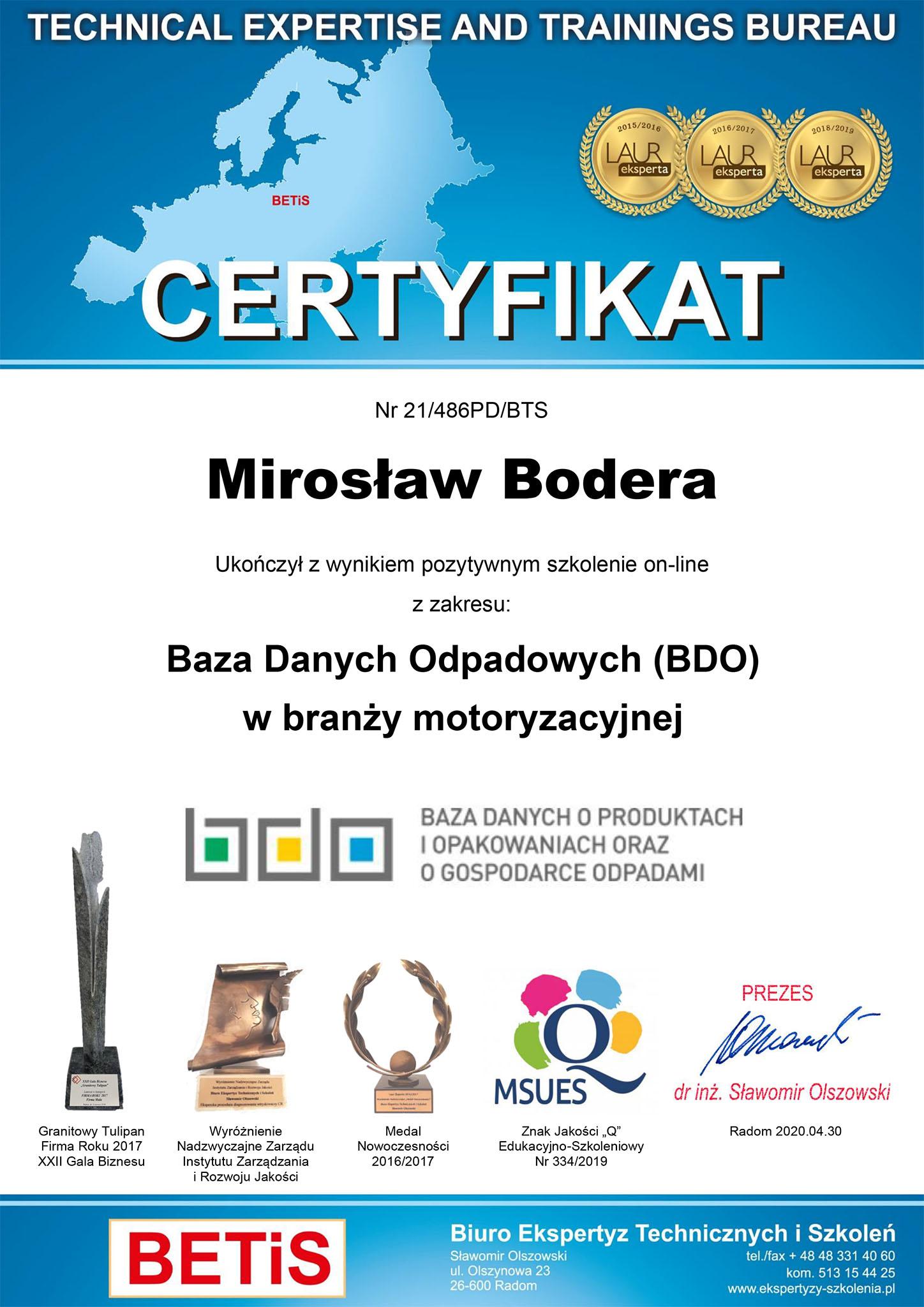 certyfikat bazy danych odpadów bm cars