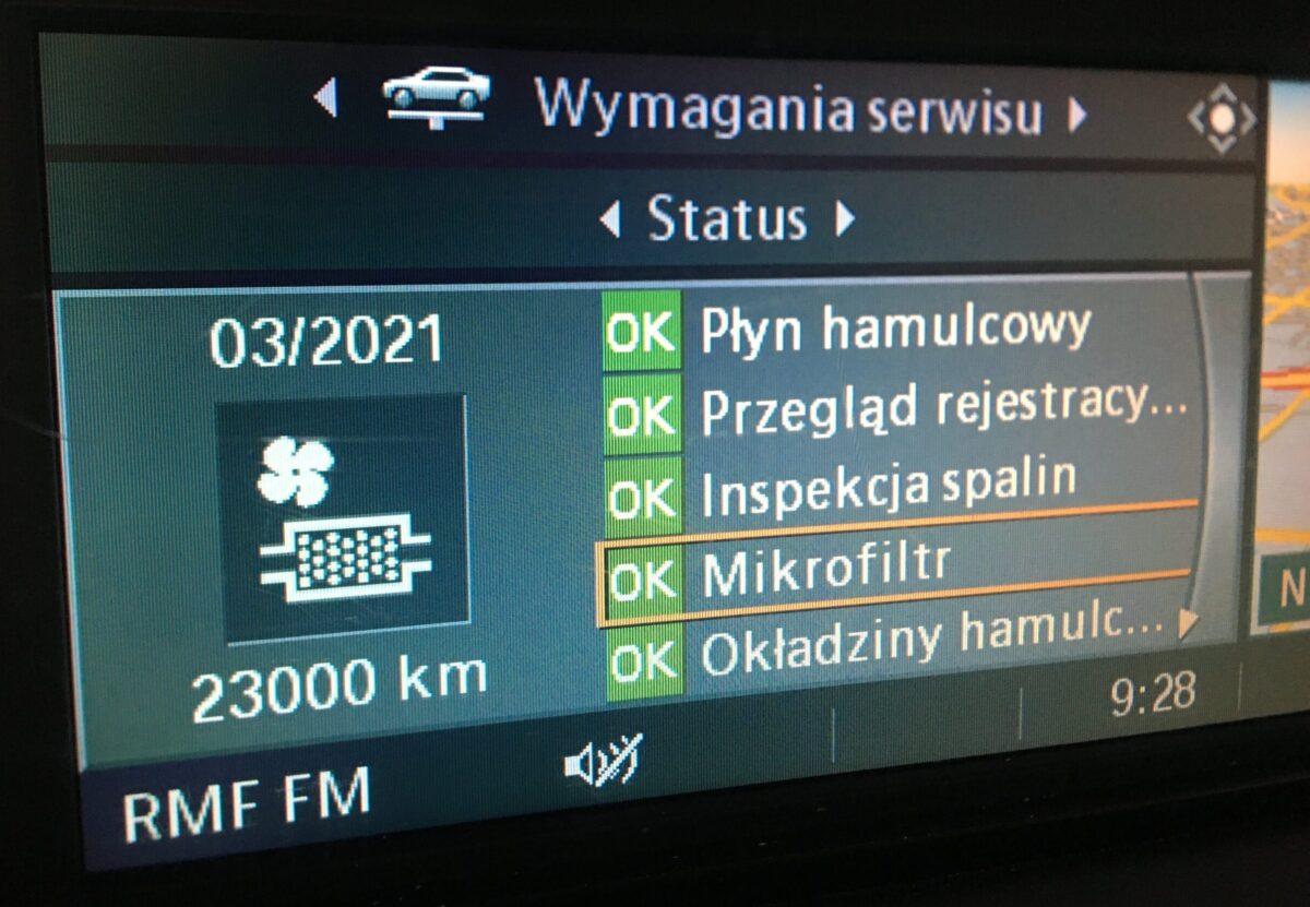 filtry kabinowe bmw komunikat SI